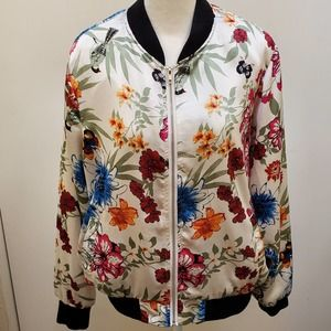 Women's Sz.1X Fashion Floral Print Bomber Jacket